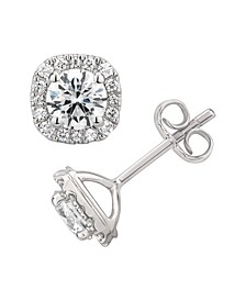 Certified Diamond  1-1/2 ct. t.w. Cushion Halo Stud Earrings in 14k White Gold