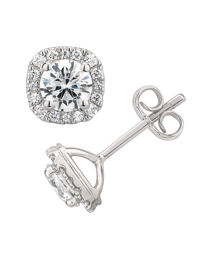 Macy's - Certified Diamond 1-1/2 ct. t.w. Cushion Halo Stud Earrings in 14k White Gold
