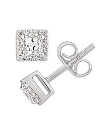 Certified Princess Diamond 1/2 ct. t.w. Halo Stud Earrings in 14k White Gold
