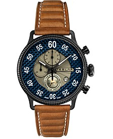 Men's Swiss Chronograph Re-Balance  Brown Leather Strap Watch 44mm