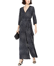 Polka-Dot Surplice Jumpsuit