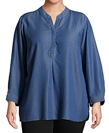 Plus Size Split Neckline Chambray Shirt