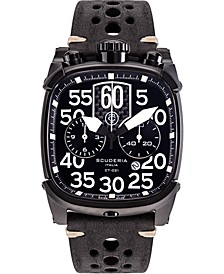 Men's Swiss Chronograph Scrambler Black Leather Strap Watch 42x44mm