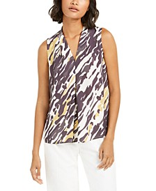 Abstract Animal-Print V-Neck Blouse, Created for Macy's