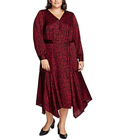 Plus Size Printed Faux-Wrap Dress