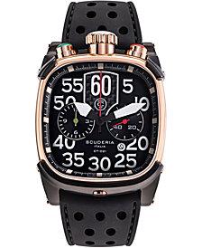 CT Scuderia Men's Swiss Chronograph Saturno Black Silicone Strap Watch 42x44mm