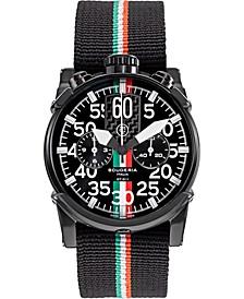 Men's Swiss Chronograph Saturno Black Nylon Strap Watch 44mm