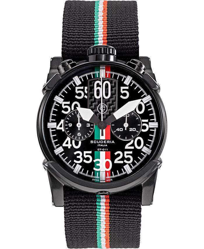 CT Scuderia - Men's Swiss Chronograph Saturno Black Nylon Strap Watch 44mm