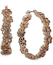 """Gold-Tone Medium Pavé Flower Hoop Earrings, 1.3"""""""