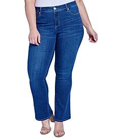 Trendy Plus Size Mid-Rise Rocker Slim Bootcut Jeans