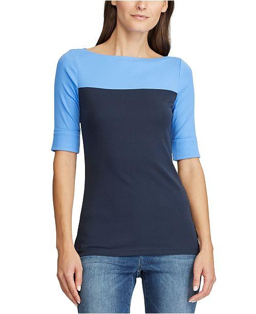 Lauren Ralph Lauren Colorblocked Cotton Top