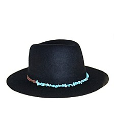 Wool Felt Fedora With Genuine Turquoise Band