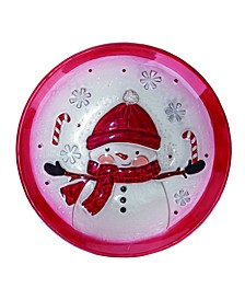Glass Red Christmas Snowman with Candy Canes Plate
