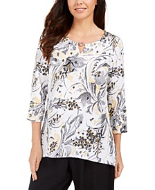 Printed Keyhole Crinkle Top, Created for Macy's
