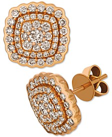 Creme Brulee® Nude Diamond Cluster Stud Earrings (1-3/8 ct. t.w.) in 14k Rose Gold
