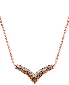 "Creme Brulee® Diamond Chevron 18"" Statement Necklace (1-1/10 ct. t.w.) in 14k Rose Gold"