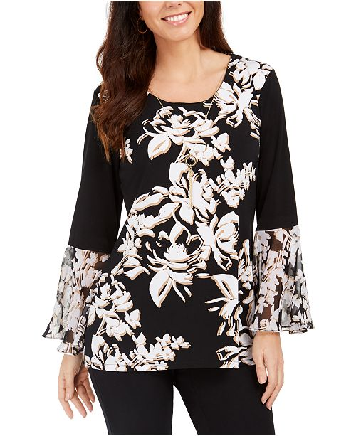 JM Collection Printed Bell-Sleeve Necklace Top, Created For Macy's