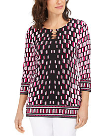 JM Collection Printed Hardware Tunic, Created for Macy's