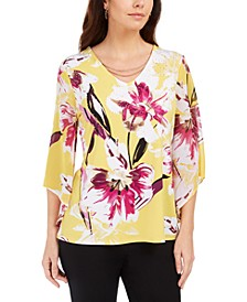 Printed Chiffon-Sleeve Tunic with Necklace Trim, Created for Macy's