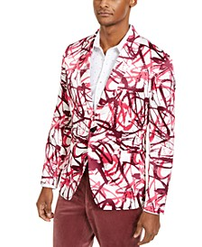 INC Men's Slim-Fit Scribble Blazer, Created for Macy's