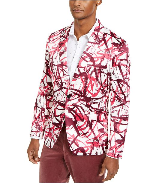 INC International Concepts INC Men's Slim-Fit Scribble Blazer, Created For Macy's