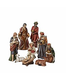 9-Inch Porcelain Nativity Figures Tablepiece Set of 9