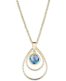 "Swiss Blue Topaz 18"" Pendant Necklace (2-1/5 ct. t.w.) in 14k Vermeil over Sterling Silver"