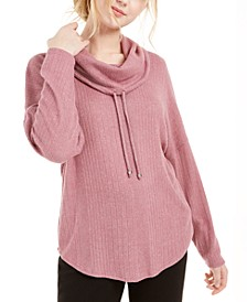 Juniors' Cowl-Neck Dolman-Sleeved Sweater