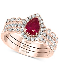 EFFY® Certified Ruby (5/8 ct. t.w.) & Diamond (1/2 ct. t.w.) 3-Pc. Bridal Set in 14k Rose Gold