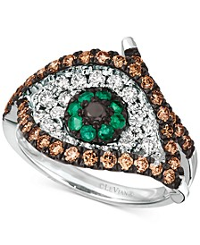 Costa Smeralda Emerald (1/8 ct. t.w.) & Diamond (1 ct. t.w.) Evil Eye Statement Ring in 14k White Gold