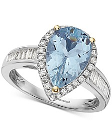 EFFY® Aquamarine (2-1/2 ct. t.w.) & Diamond (3/8 ct. t.w.) Pear Shaped Ring in 14k Gold & White Gold
