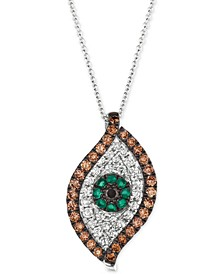 "Costa Smeralda Emerald (1/8 ct. t.w.) & Diamond (1 ct. t.w.) Evil Eye 18"" Pendant Necklace in 14k White Gold"