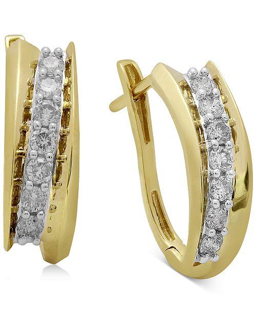 Macy's Diamond Hoop Earrings (1/2 ct. t.w.) in 14k Gold