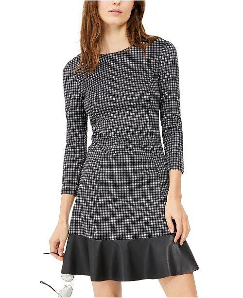 Michael Kors Plaid Ruffle Hem Dress, Regular & Petite