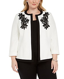 Plus Size Embroidered Flyaway Jacket