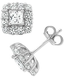 Certified Diamond Princess Halo Stud Earrings (2 ct. t.w.) in 18k Gold