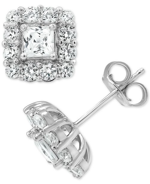 Marchesa Certified Diamond Princess Halo Stud Earrings (2 ct. t.w.) in 18k Gold