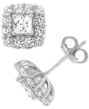 Diamond Princess Halo Stud Earrings (2 ct. t.w.) in 18k White Gold