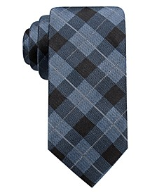 Men's Clemson Slim Plaid Silk Tie, Created for Macy's