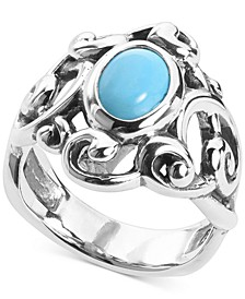 Turquoise Openwork Filigree Statement Ring in Sterling Silver