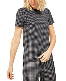 Micro Check Print Tunic Top, Regular & Petite