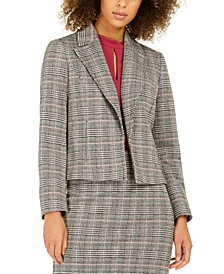 Notch-Collar Plaid Blazer
