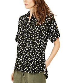 Floral-Print Roll-Sleeve Top, Regular & Petite