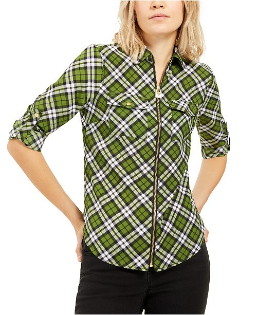 Michael Kors Plaid Zip-Front Top, Regular & Petite