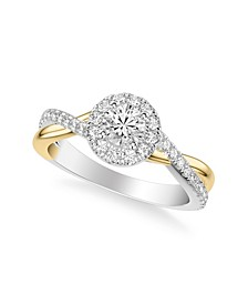 Diamond Halo Bridal Set and Engagement Rings in 14k Two Tone Gold