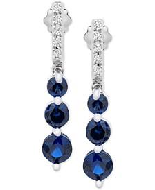 Emerald (7/8 ct. t.w.) & Diamond (1/20 ct. t.w.) Drop Earrings in 14k Gold (Also in Sapphire & Certified Ruby)