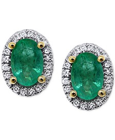 Emerald (5/8 ct. t.w.) & Diamond (1/10 ct. t.w.) Halo Stud Earrings in 14k White Gold