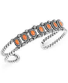Orange Spiny Oyster Openwork Cuff Bracelet in Sterling Silver