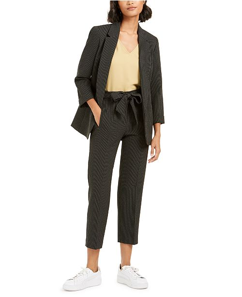 Bar III Striped Open-Front Jacket, Bell-Sleeve Top & Striped Tie-Waist Pants, Created for Macy's
