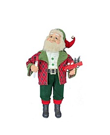 36-Inch Kringle Klaus Red and Green Elf with Toy Car
